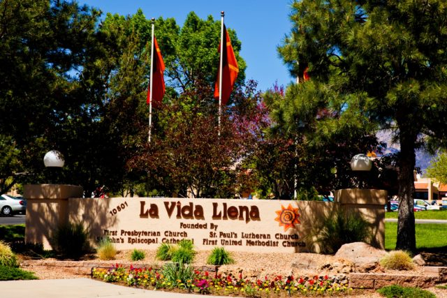Flags at Entrance to La Vida Llena