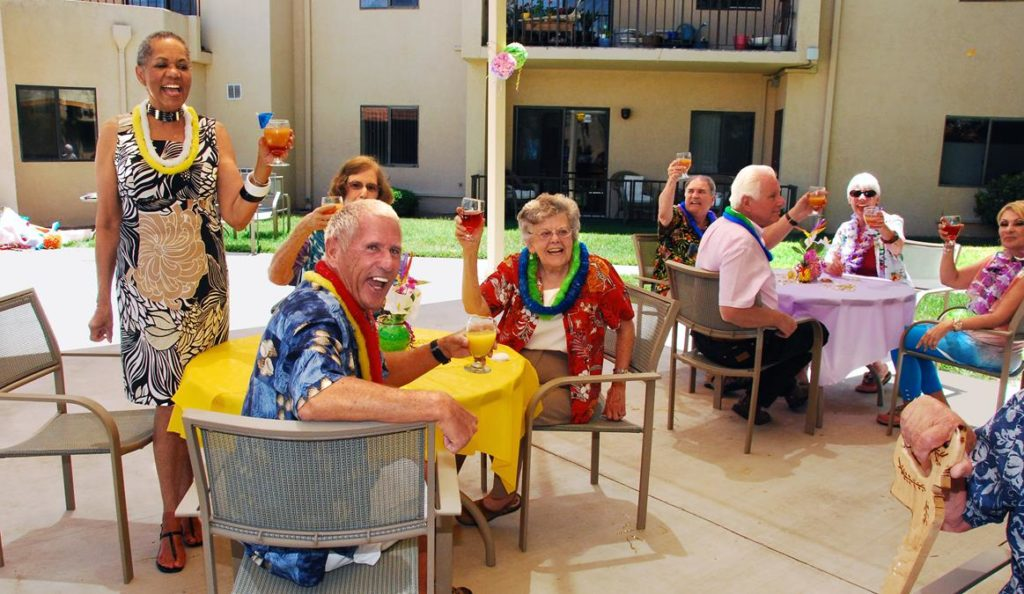 Residents Enjoying a Drink on Patio