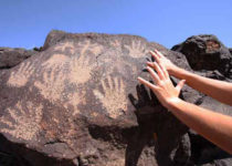 Visitor to Petroglyph National Monument