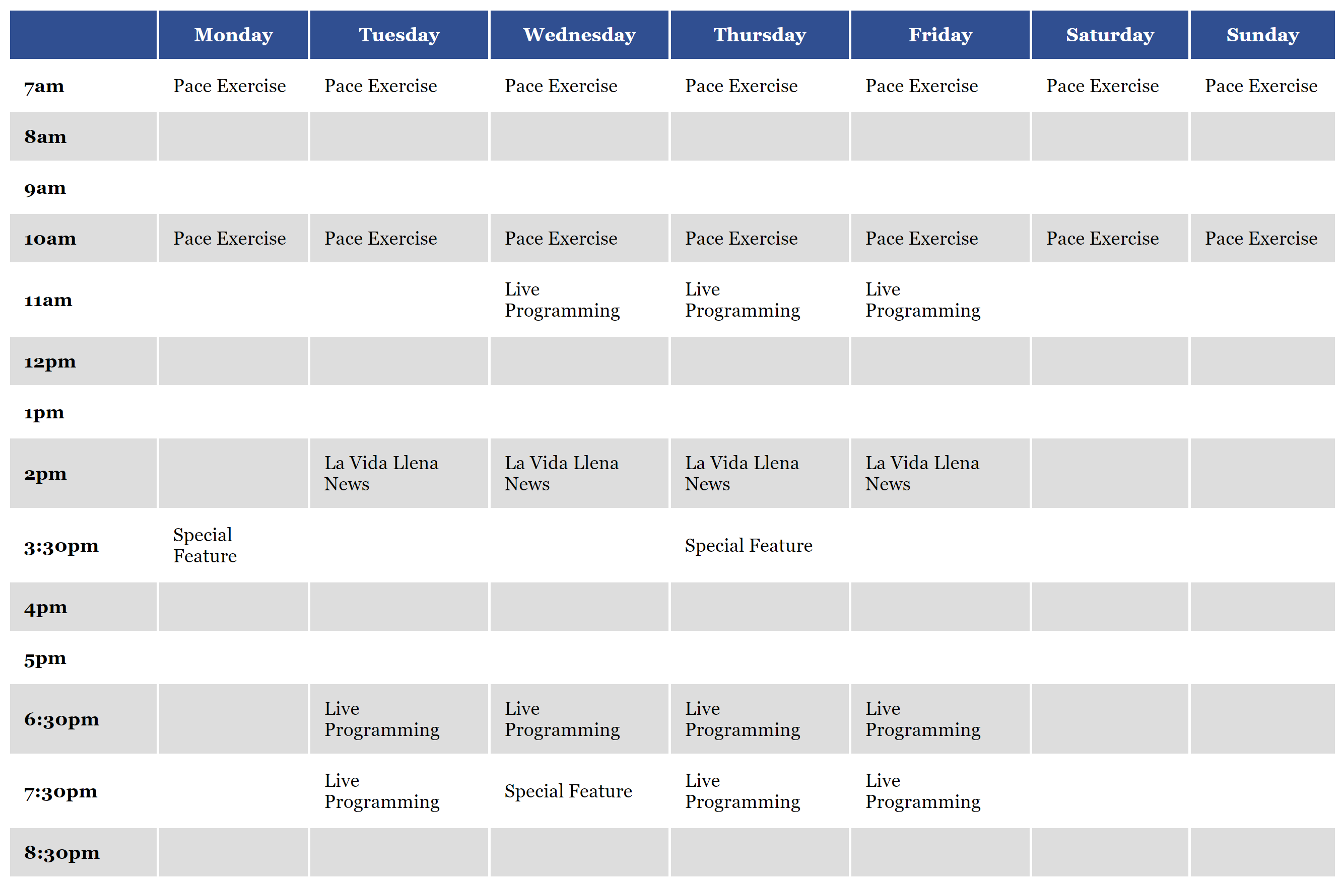 TV Channel Sample Schedule